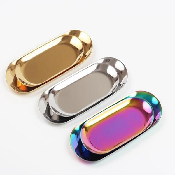 Chic plateau en métal d'or Ablage en acier inoxydable plaqué PVD serviette Plateau ovale populaire Décoration Produit