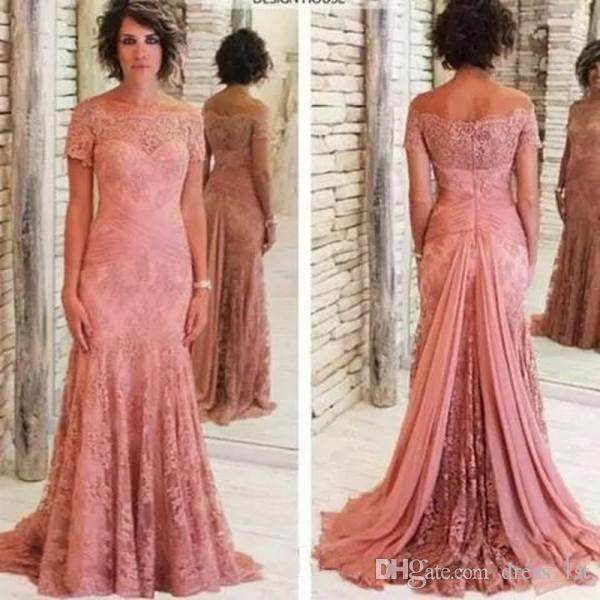 2019 Peach Pink Lace Evening Dresses Mother of The Groom Bride Off The Shoulder Short Sleeves Mermaid Sweep Train Formal Evening Gowns