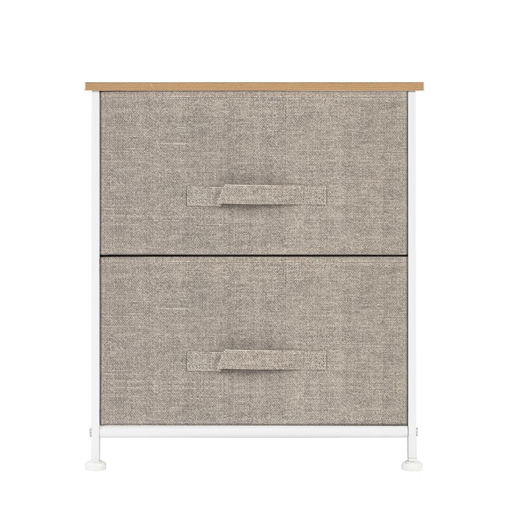 2 Tiroirs -NIGHT stand, fin Table Tour de rangement - robuste cadre en acier, en bois Top, Easy Pull Bins Tissu - Unité Organisateur Pour Chambre
