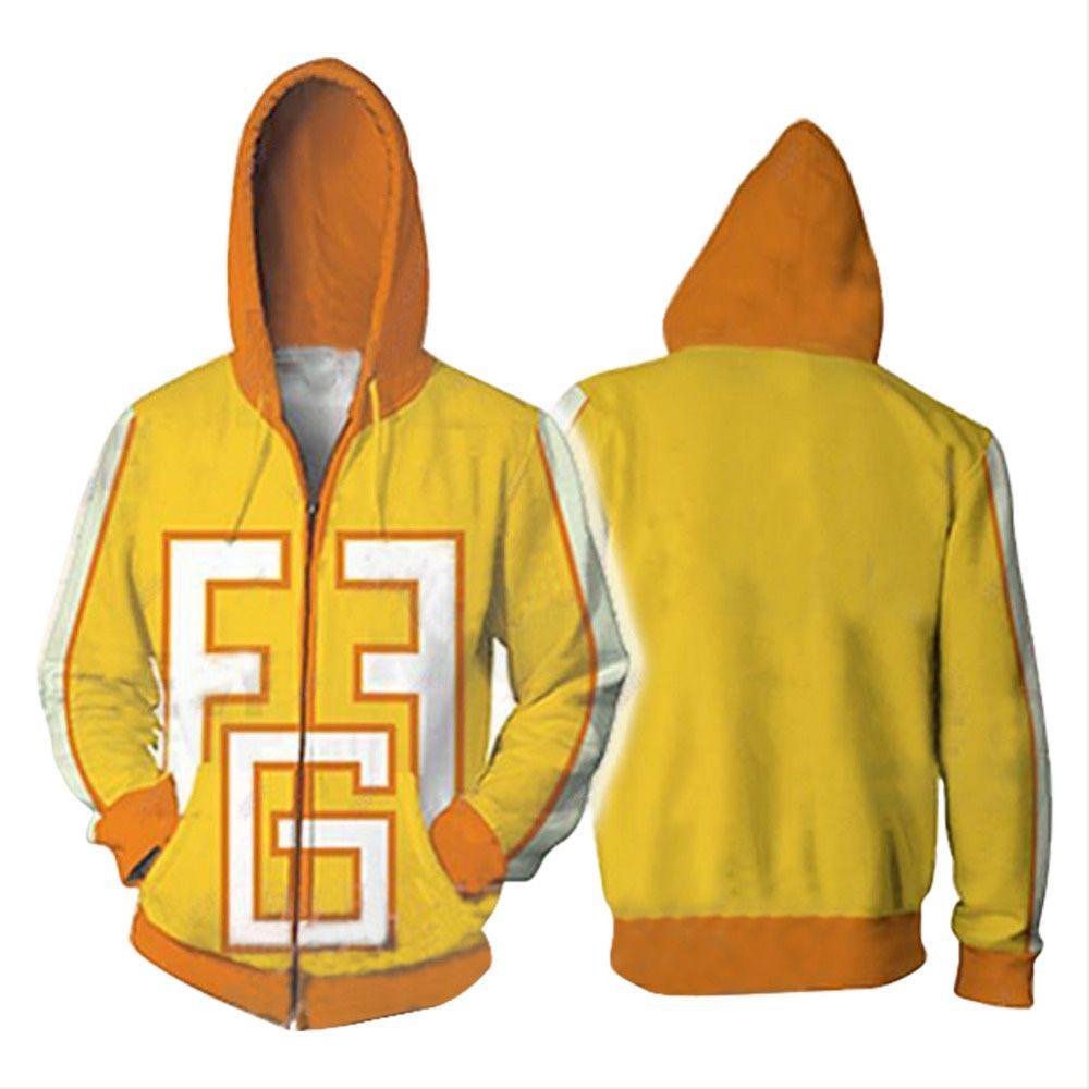 My Hero Academia Hoodie Cosplay Yellow 3D Print Zipper Fatgum Hoody Hoodies Men Women Sweatshirts