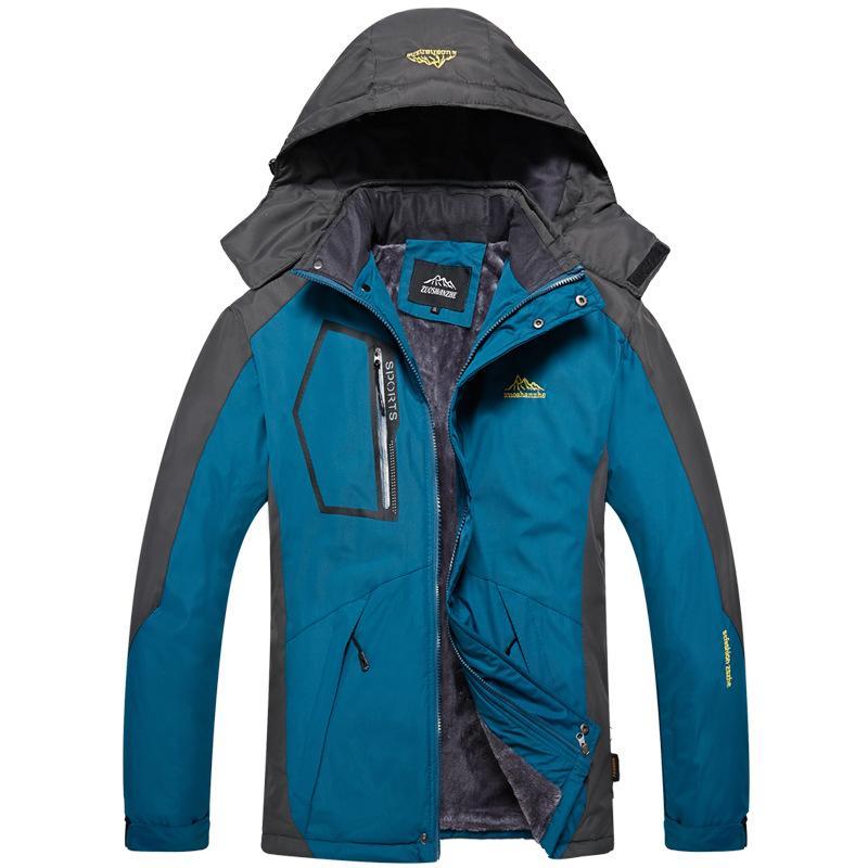 Мужская зима снег Теплый пуховик ветровки Outwear ветрозащитный водонепроницаемый с капюшоном толстый бархат куртка Мужчины руно Пальто Плюс размер 5XL