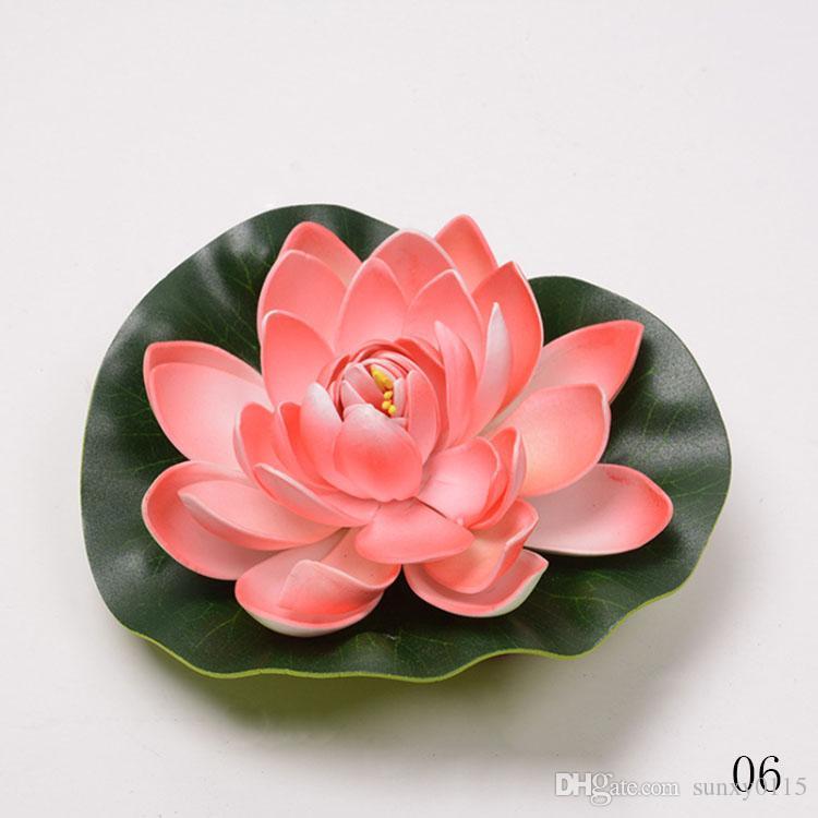 Türük Toptan 17 CM Eva Köpük Lotus Çiçek Yaprak Enshrine Çiçekler Ile Su Geçirmez Sucul Simülasyon Yapay Çiçekler Bahçe Göleti