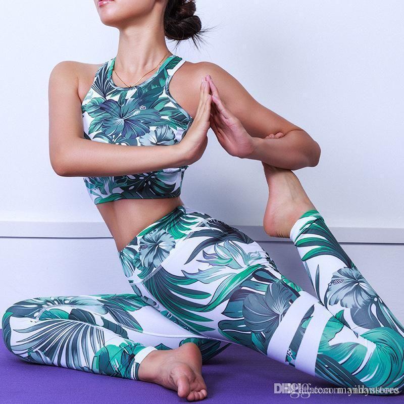 Mujeres Yoga Set Sport traje estampado camuflaje Formación Top pantalones de deporte al aire libre aptitud que se ejecuta Ropa Nueva 3D juego de la yoga Deportes