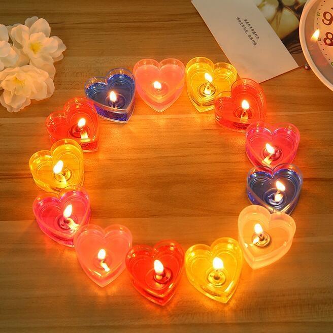colore 10pcs / box di caramella Heart-Shaped Jelly candele di nozze San Valentino romantico senza fumo ecologico candele Decorazioni Ornamento