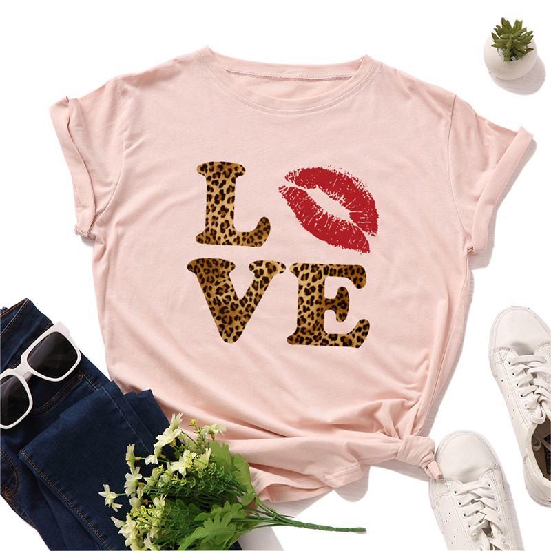 Plus Size S-5XL New leopardo T-shirt Mulheres 100% Algodão TShirt O Neck manga curta Tees Verão Mulheres Camiseta TShirt Feminino
