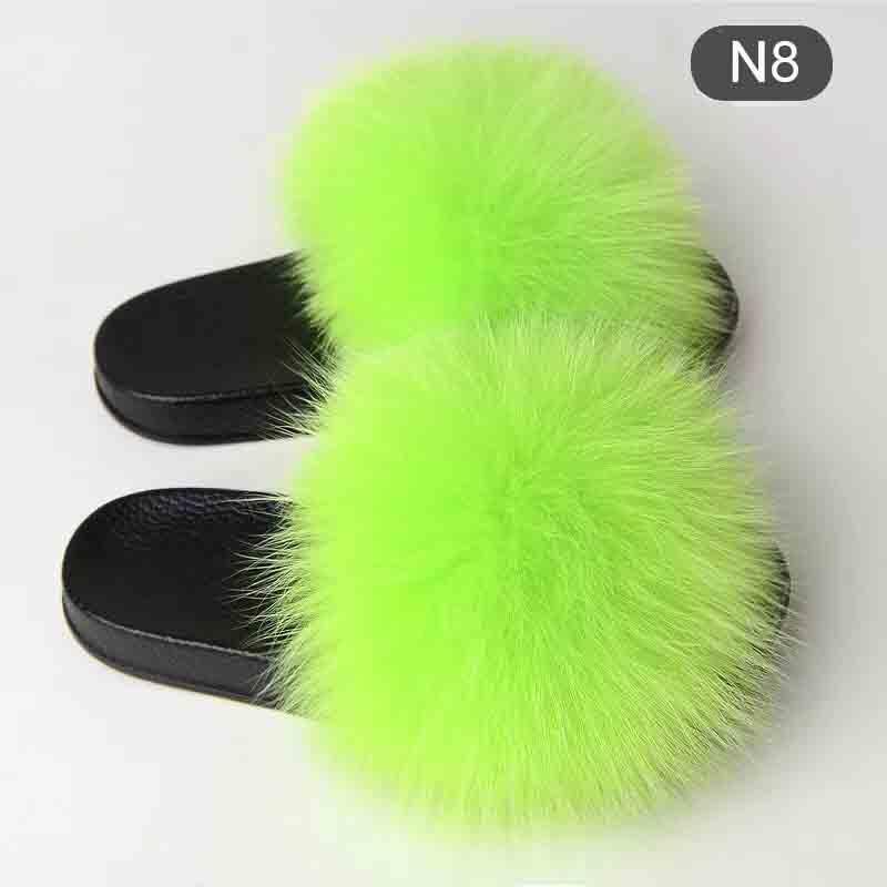 New Verão Mulheres Chinelos Realmente Fur Fox cabelo Slides Plano de pelúcia Shoes Início dos falhanços Ladies Beach Sandals