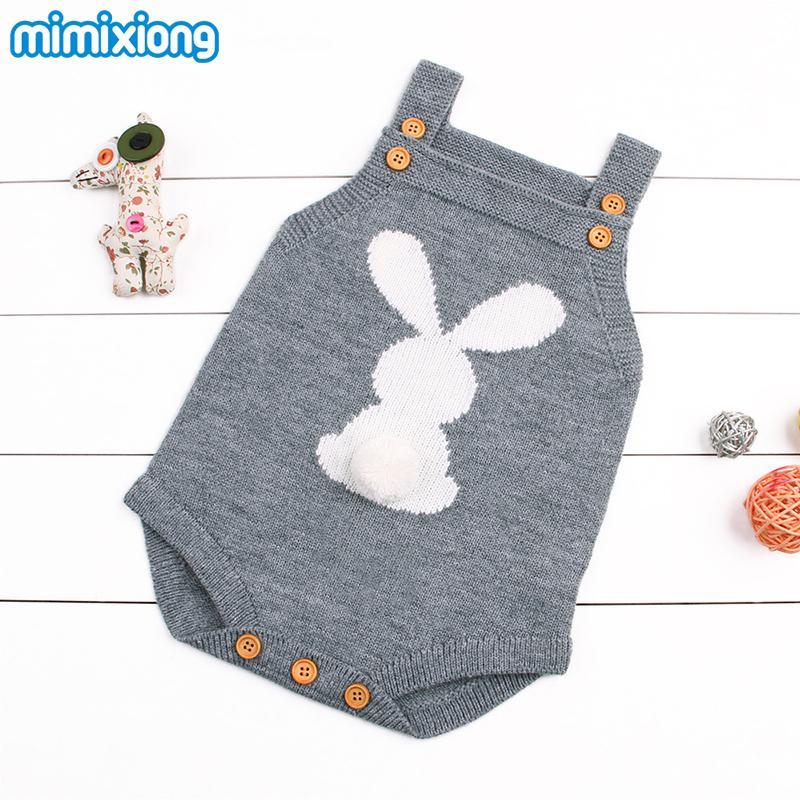 Infantil Kids Baby Girls Body Tops Cute Rabbit Knitted Newborn Easter Onesie Summer Sleeveless Toddler Boy Girl Bodysuits Outfit Y19061201
