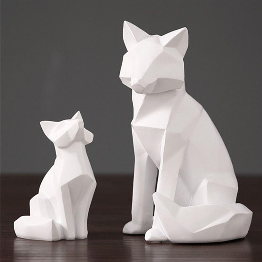 blancas abstractas geométricas adornos de escultura zorro lindo FoxTV decoraciones hogar moderno estatuas de animales de escritorio decoraciones del regalo del amor