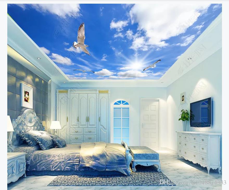 Özelleştirilmiş 3D Zenith Fotoğraf Tavan Arka Plan Duvar Modern minimalist mavi gökyüzü ve beyaz bulutlar duvarlar için zenith duvar tavan duvar kağıdı 3d