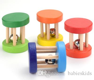 New Baby Wooden Rattles Toy Ringing Puzzle Musical Instrument Shaking Hand Rattles Bell Toys Intellectual Educational Toys
