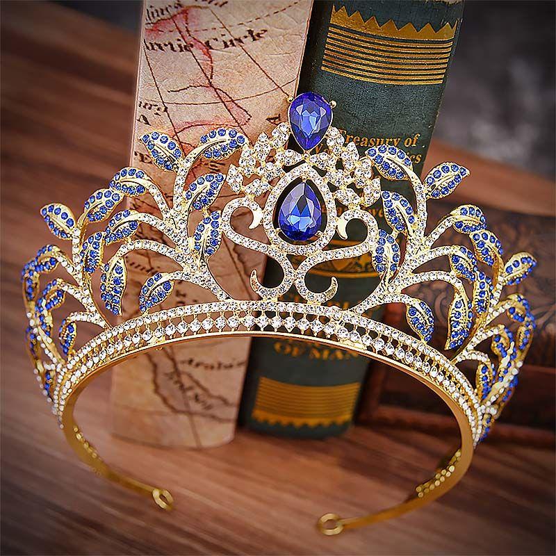 Ragazze Flower Leaf Temperamental Crowns Donne grandi tondi a forma di diademi copricapo da sposa accessori da sposa di lusso in cristallo