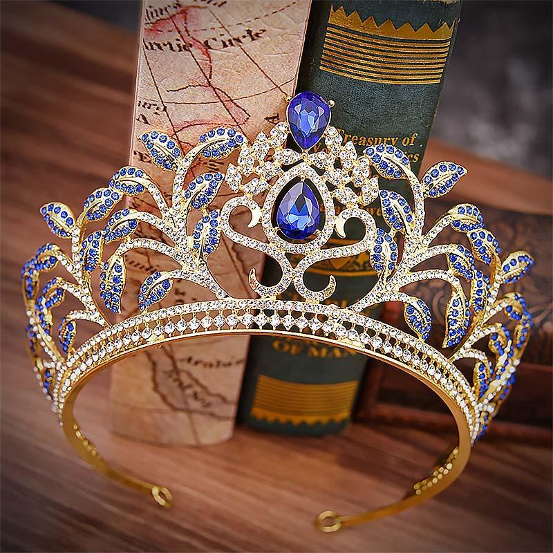 Niñas Flor Hoja Temperamental Coronas Mujeres Grandes Tiaras en Forma Redonda Cascos Nupcial de La Boda de Lujo de Cristal Accesorios Para el Cabello