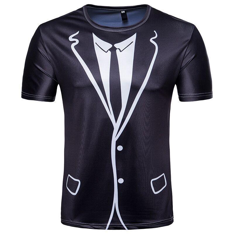 Nouvelle Europe Europe Style Funny Faux Costume et Cravate T Shirt 3D Imprimer Hommes / Femmes Unisexe Été Col Rond À Manches Courtes Tops Décontractés U1460