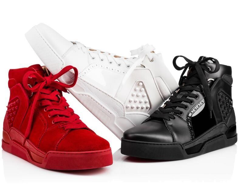 2019Designer Düşük üst Aurelien Sneakers Flats Üstün Kalite Trainer Moda Erkekler Markalar Kırmızı Alt Spor ayakkabılar Mükemmel Casual Yürüyüş Ayakkabı