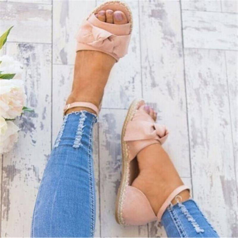 Womens Sandals Plus Size 35-43 Flats Sandals For 2018 Summer Shoes Woman Peep Bow Casual Shoes Sandalias Mujer For Women