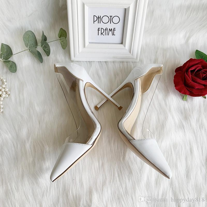 mode Livraison gratuite Designer Escarpins à bout pointu nouveau style brevet PVC transparent blanc dame 12cm clair talon mince de HEES mariée