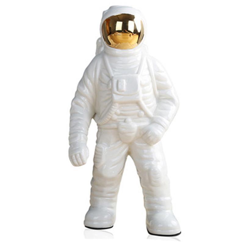 Hombre del espacio del astronauta escultura del patrón Rocket Plane de cerámica Material del Cosmonauta estatua Moda Decoración grande