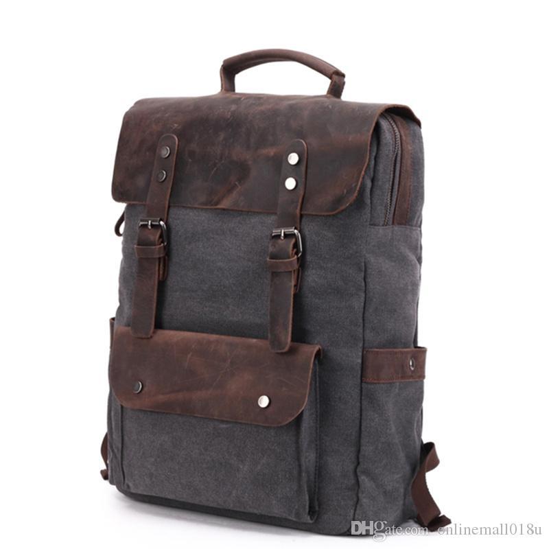 Vintage Backpacks For Men Canvas Backpack Large Capacity Travel Bags Luggage Crazy Horse Leather Laptop Backpack School Bookbag