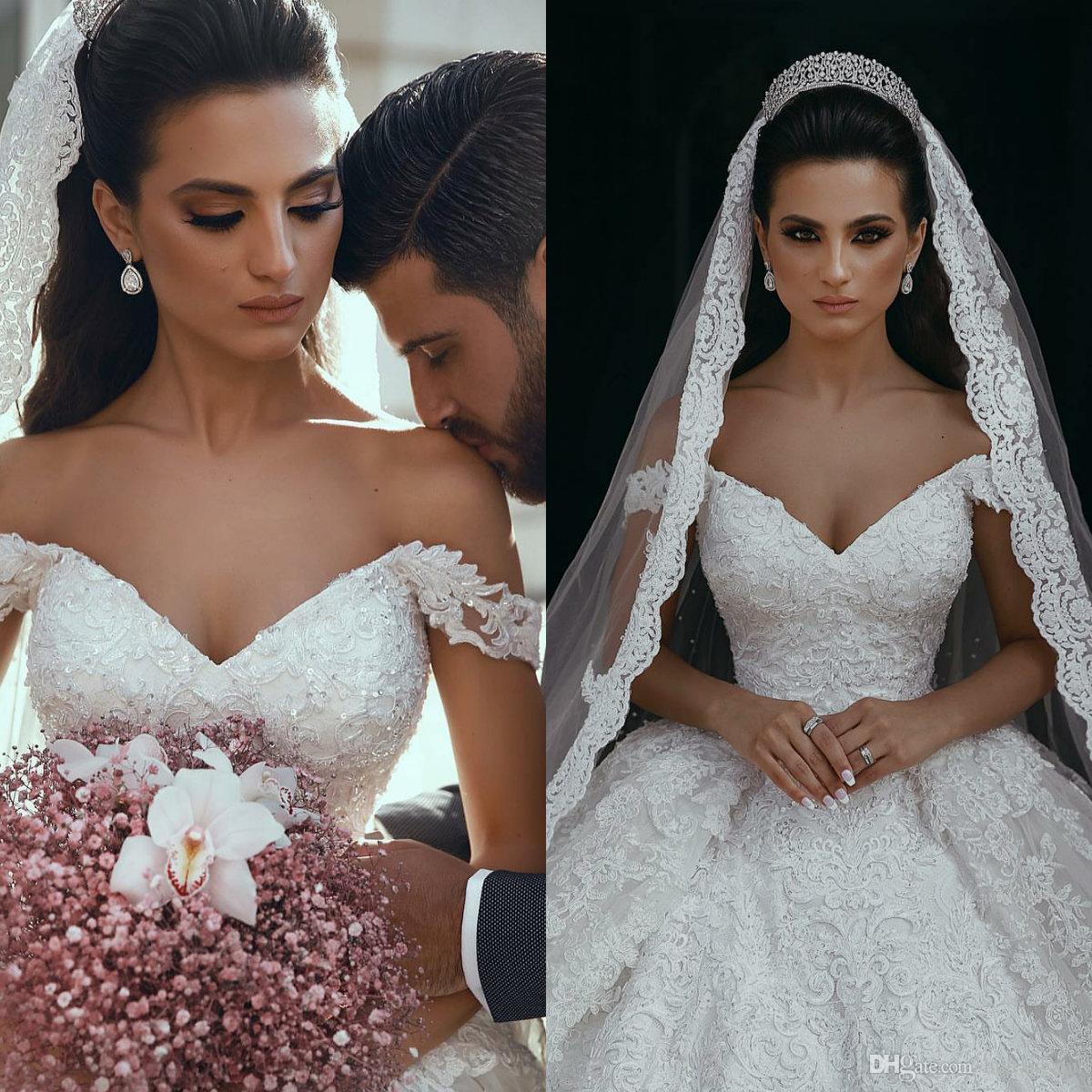 2019 빈티지 디자이너 웨딩 드레스 숄더 앙코르 비즈 오프 Mhamad 신부 드레스 럭셔리 스팽글 웨딩 드레스 플러스 사이즈