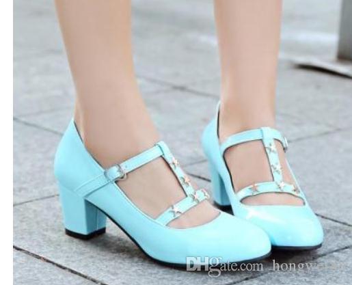 2019 chaussures de femmes au printemps et en automne avec nouveau style haut talon tête ronde talon gros @ 4050