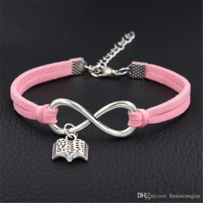 Hot Bohemian Infinity Love Read Books Pendant Light Pink Leather Suede Bracelet for Men Women Vintage Weave Braided Fashoin Jewelry 2019 NEW