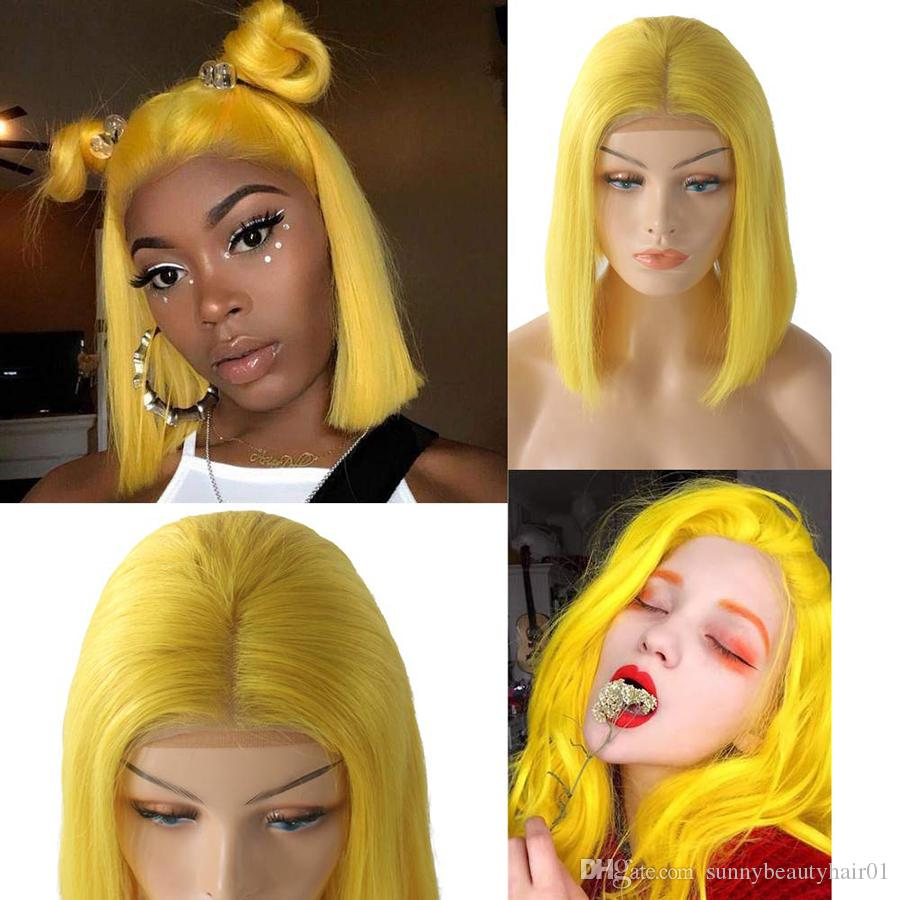 Yellow Bob Lace Front Wigs with Baby Hair 180% Density 13*4 Glueless Short Bob Wig Straight Brazilian Remy Hair Wigs for Black Women