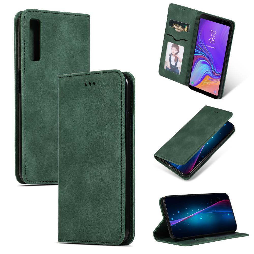 20 шт. / лот высокого класса Бизнес 2 карты кожаный чехол для мобильного телефона Samsung Galaxy A8 A8 plus A9 A7 2018 a750 a20e обложки