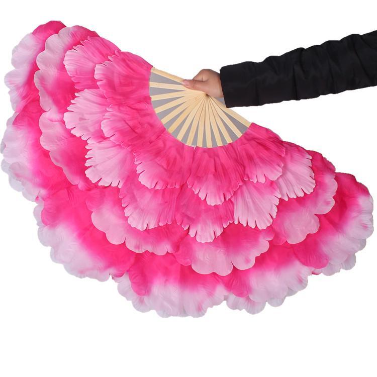 50 adet / grup Oryantal Dans el hayranları düzenlenen 50 cm çiçek Katmanlı handfan sahne performansı duş Modern dans aksesuarları