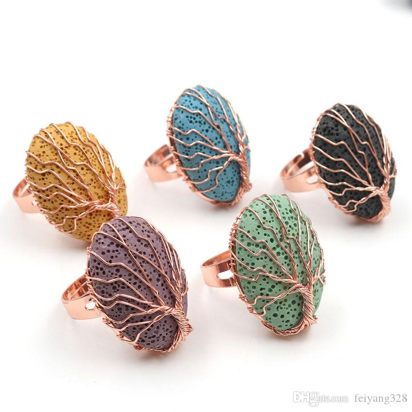 Wholesale 5 Pcs Rose Gold Plated Many Color Oval Lava Stone Resizable Finger Ring for Party Gift Jewelry