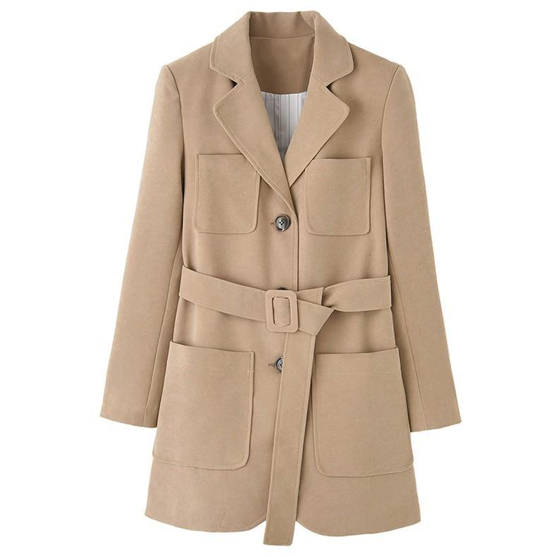 Yün Blazer İçin Kadın Stil Ofis Lady Moda Günlük Haki Kalınlaşmış Ceket Kadın