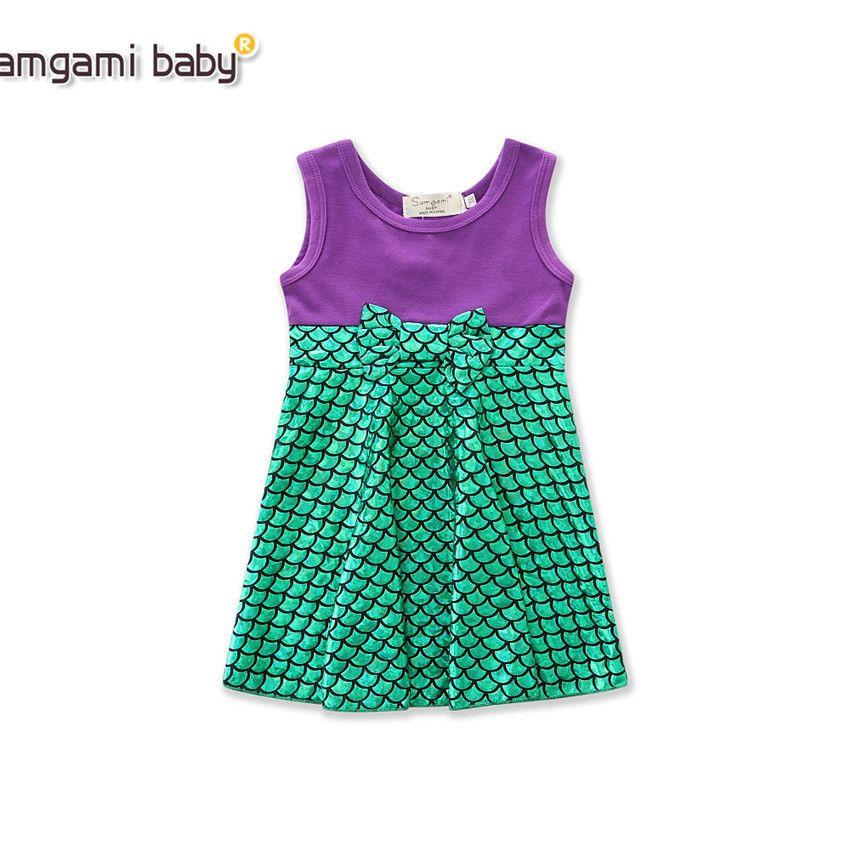 Retail baby girl dresses ins summer girls sleeveless bowknot mermaid princess dress fashion cute patchwork prom dress kids designer clothes