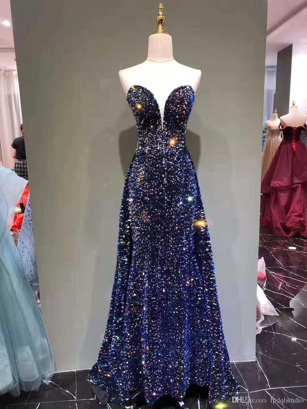 Sparking Blue Evening Dress Shining Sequins with Beads Long Prom Dress Sweetheart Sleeveless Backless Long Runway Gowns Real Pictures