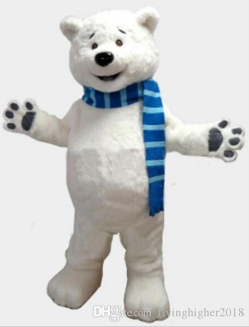 Professional custom blue scarf Polar Bear Mascot Costume cartoon white bear animal character Clothes Halloween festival Party Fancy Dress