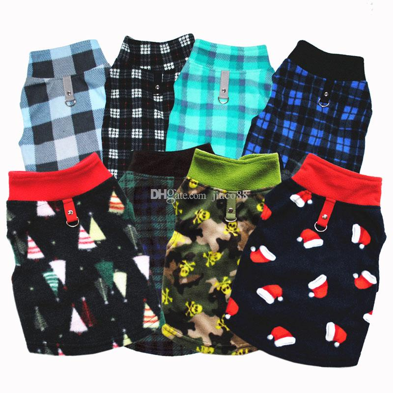 Warm Winter Christmas Halloween Gifts Pet Plaid Dog Clothes Fleece Small Dog with Buckle Puppy Jackets Dogs Apparel Pet Supplies Vest Coats