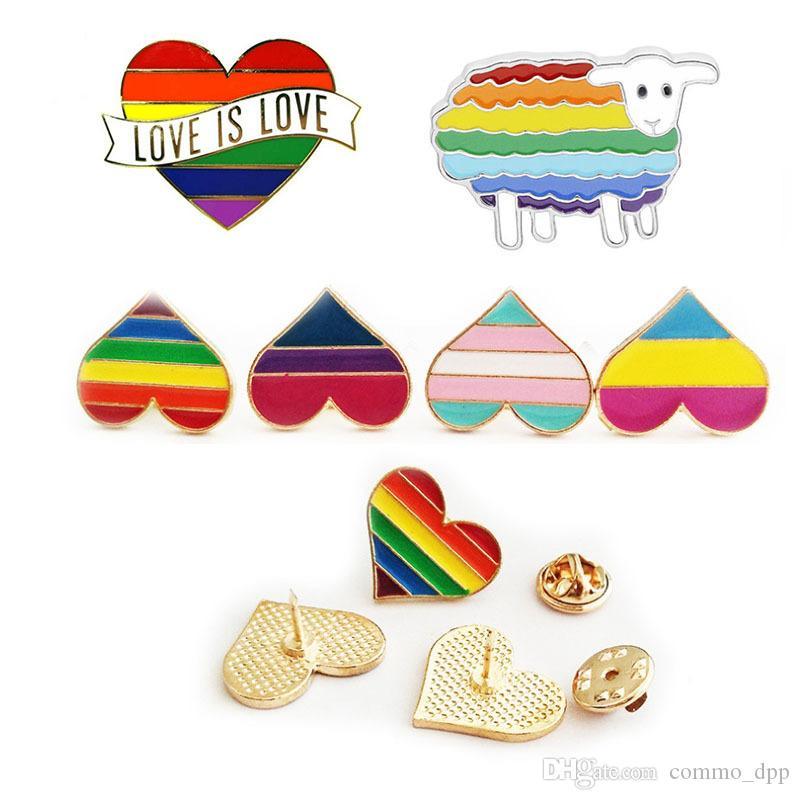 Arcobaleno colore smalto lgbt spille per le donne uomini gay lesbiche orgoglio di risvolto badge distintivo gioielli moda in massa