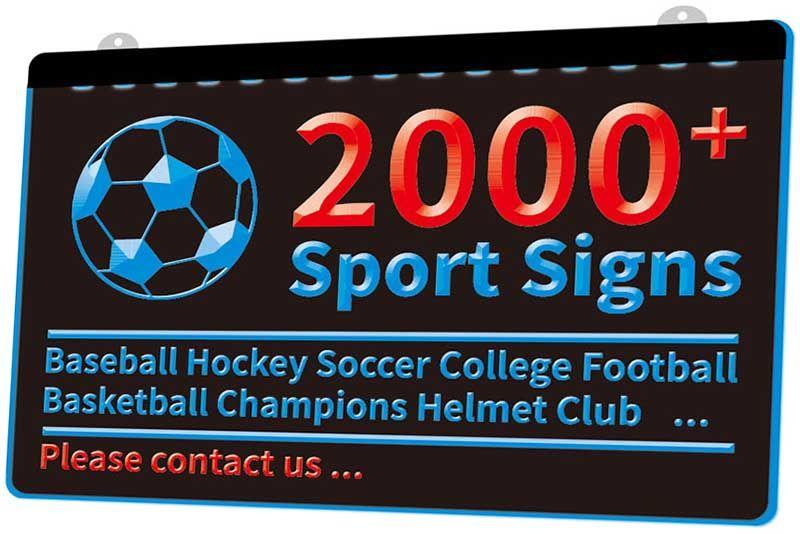 2000+ Spor İşaretler Beyzbol Hokey Futbol Koleji Futbol Basketbol Şampiyonlar Kask Kulübü Yeni 3D LED Işık Çoklu Renk Sign