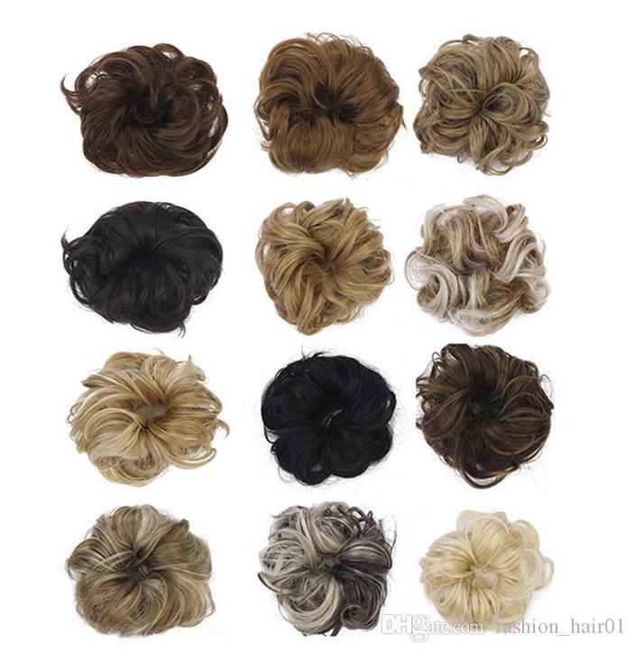 Oubeca Synthetic Flexible Haar Brötchen topknot Curly Scrunchy Chignon Elastic Messy Wellenförmige Scrunchies Wrap Für Pferdeschwanz Extensions für Frauen