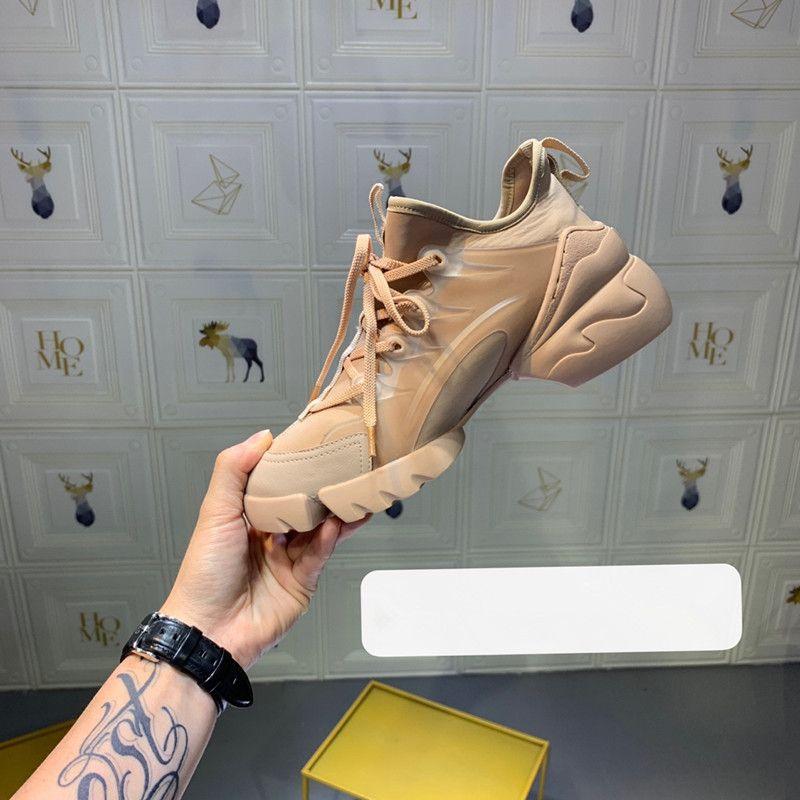 2019 Новые роскошные дизайнерские ботинки женщин Женщина неопрена Grosgrain лента D-Connect кроссовки Lady укручения резиновая подошва Повседневная обувь