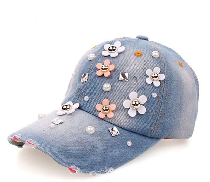 Bordados Snapback bonés Snapback Flor Equipe Rhinestone Cowboy Sports Jean Outdoor Cotton Hat For Women 3 cores 56-62 cm