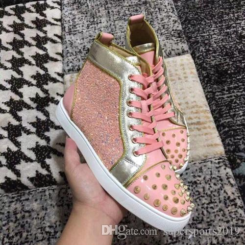 2019 Luxe Sneaker Spikes Toe Men Red Shoes Bas Top qualité Rose strass New Designer Marque Party Flats Lovers Formateurs Casual