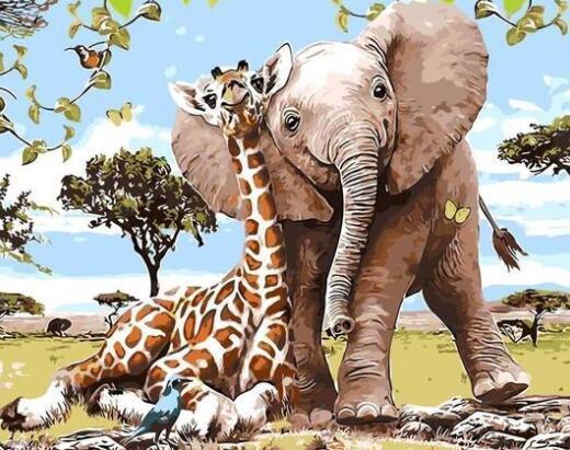 Amigos animales elefante jirafa - Pintura por Números Kits Para adultos de DIY Aceite Pintar por números lienzo Pintura Arte