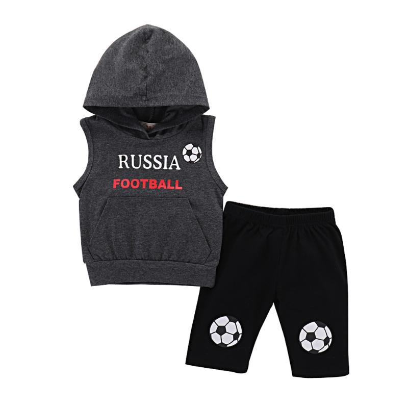 Toddler Kids Baby Girls Boys Sleeveless Letters Football Printed T-shirt Pants Russia Two-pieces Suit Set