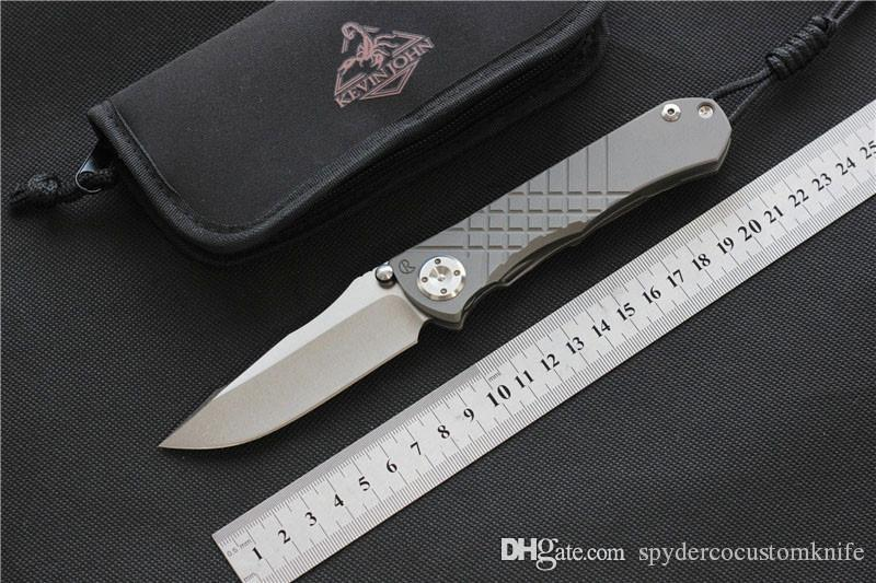 kevin john CR Umnumzaan folding knife m390 blade titanium handle camping hunting survival pocket Kitchen fruit knife EDC tools,Free shipping