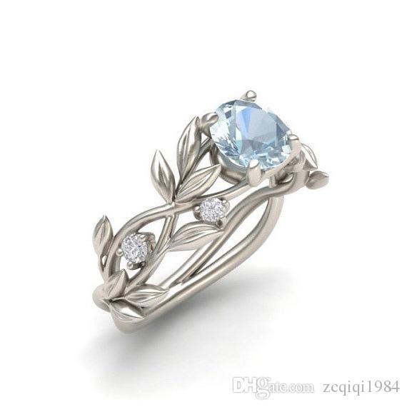 خواتم الزفاف كريستال فضي اللون كرمة ليف تصميم الاشتباك مكعب الزركون خاتم أزياء بيجو للنساء السيدات مجوهرات هدايا