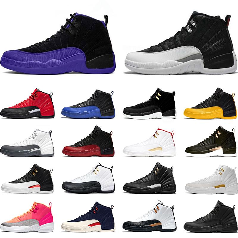 Zapatos de baloncesto del Mens 12 12s gripe inversa oscuro juego de Concord Gris oscuro FIBA Juego Real Men Formadores zapatillas de deporte Deportes envío de la gota