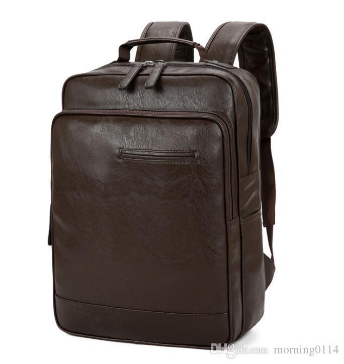 2019 nuovo inverno di alta qualità PU maschile e affari delle donne casuale valigetta zaino grande capacità impermeabile spalla sacchetto all'ingrosso
