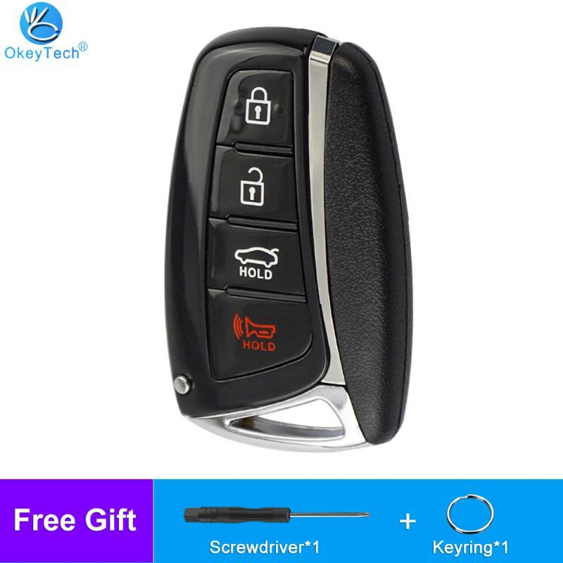 OkeyTech Smart Remote Control Car Key Shell Case With 4 Buttons FOB for Genesis 2013 2014 2015 Santa Fe Equus Aze