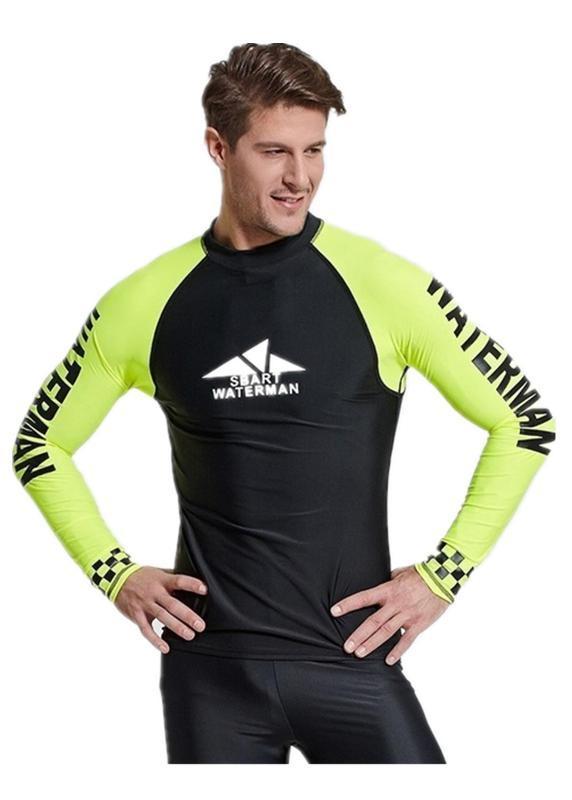 УФ защита плавать рубашка рашгард мужчины купальники с длинным рукавом лайкра Surf Rash Guard мужская серфинг плавание дайвинг футболка спортивный костюм