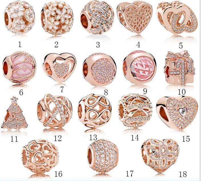 Hot fit Pandora Echt 925 Sterling Silber Zirkonia Europäischen Charms Bead Fit pan Kette DIY Armband für frau gold farbe Modeschmuck