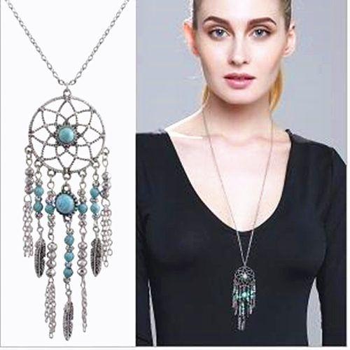 Women Fashion Retro Dream Catcher feather Pendant Long Sweater Chain Necklace